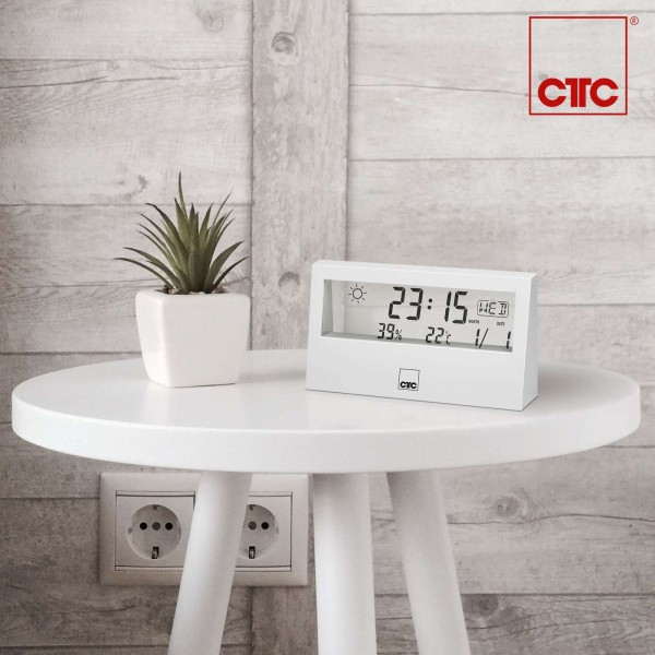 CLATRONIC Wetterstation Weckfunktion LCD-Display WSU 7022 weiß