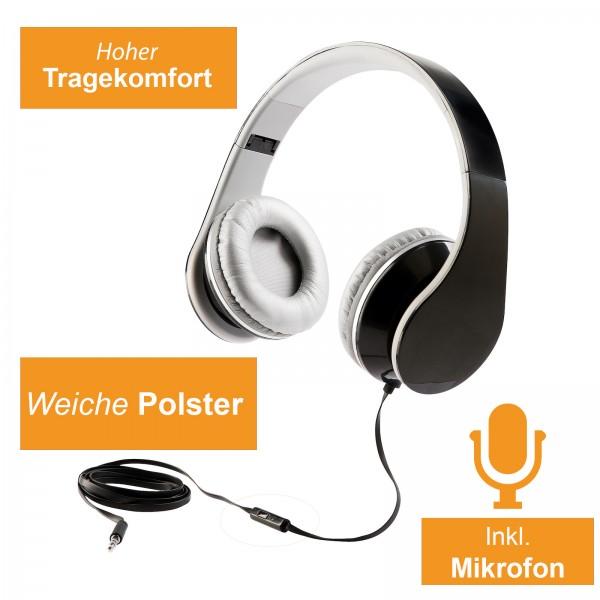 LIVOO Bügelkopfhörer HiFi Stereo Mikrofon Ohrpolster TEC569N schwarz