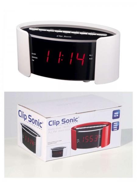 ClipSonic Radiowecker UKW-Alarmwecker PLL FM weiß AR306B
